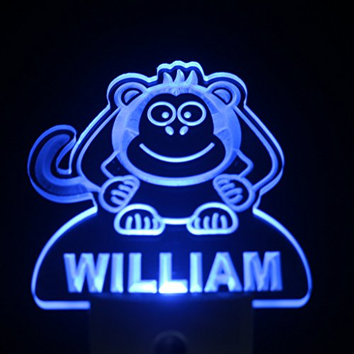 Ws1008-Tm Monkey Personalized Night Light Baby Kids Name Day/ Night Sensor Led Sign