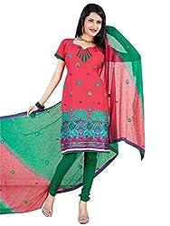 Vatsal Silk Mills Unstitched Dress Material for Women Red