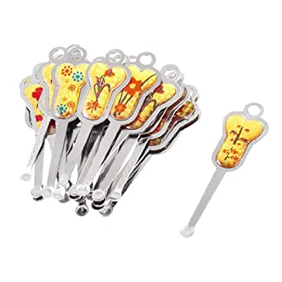 Silver Tone Metal Florals Flowers Printed Earpick Ear Wax Removal Tool 24 Pcs