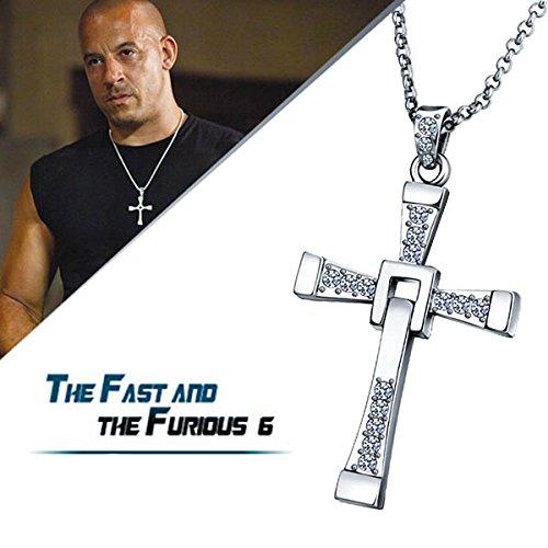 Yellow Chimes Vin Diesel Smart Cross Pendant In Austrian Crystal 18K Platinum Gold Plated For Men