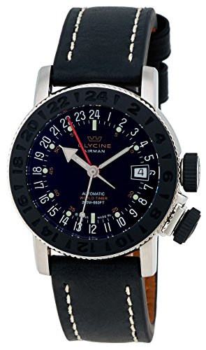 Glycine Airman 18 Sphair Automatic GMT World Timer Steel Mens Strap Watch 3928.191 LB9B