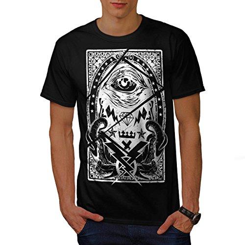 Illuminati-Auge-Tintenfisch-Meer-Herren-NEU-Schwarz-S-5XL-T-shirt-Wellcoda