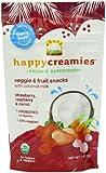 Happy Creamies Organic Veggie & Fruit Snacks with Coconut Milk - Strawberry Raspberry & Carrot -  1 oz (Pack of 8)