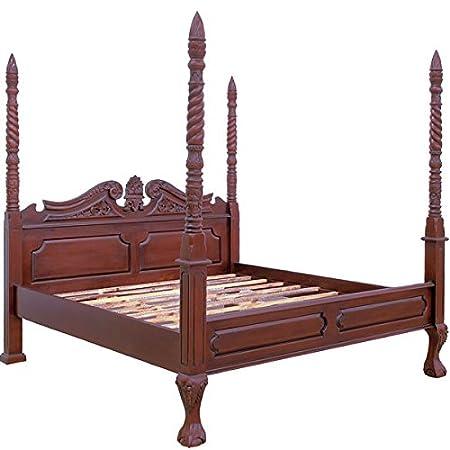 MOREKO Bett massiv Mahagoni Holzbett 180 x 200 cm Antik-Stil