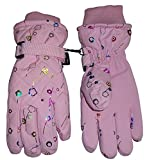 NIce Caps Kids Thinsulate and Waterproof Quilted Ski Glove (6-7yrs, Pink/Multi Color Glitter)