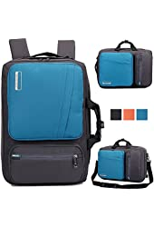Brinch 10, 17-Inch Nylon Padded Laptop Backpack with Handle and Shoulder Strap for MacBook, Laptop, Notebook, Tablet PC, iPad, Ultrabook, Chromebook - Blue/Grey