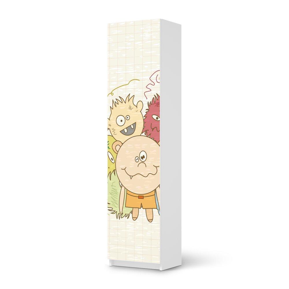 Möbel-Aufkleber IKEA Pax Schrank 201 cm Höhe – 1 Tür / Design Sticker Monsterparty / selbstklebende Dekoration günstig online kaufen