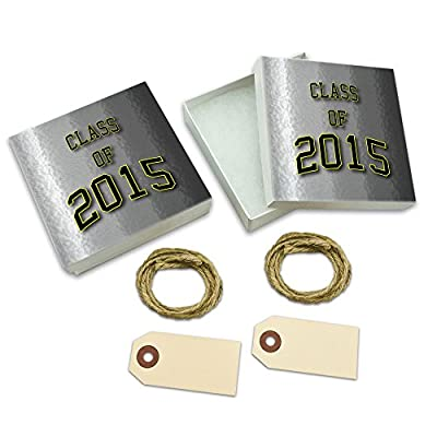 Class of 2015 Graduation White Gift Boxes Set of 2