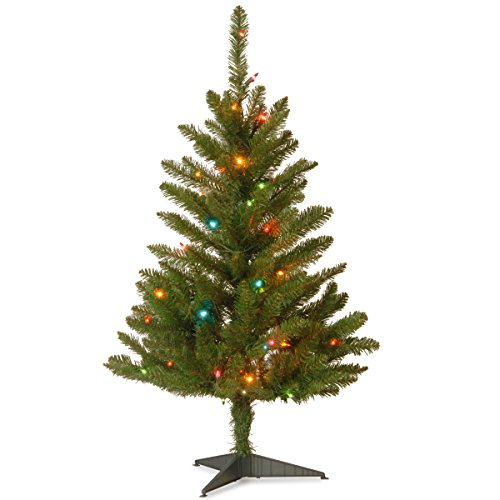 National Tree KW7-313-30 Kingswood Fir Wrapped Pencil Tree with 50 Multi Lights, 3-Feet