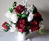 10 Piece Dark Red White Table Centerpiece Flower Arrangement - Wedding Decoration Sale