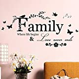 Living Designs Family Life Love Quote Wall Decals Sticker Mural Vinyl Room Home Decor DIY, Self Adhesive Art