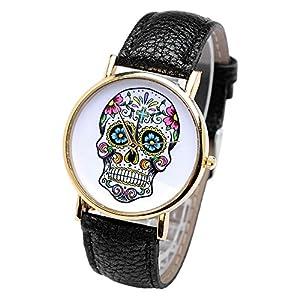 Smartbargain 33mm Women's Golden Day of Dead Sugar Skull Cross Quartz Analog Wrist Watch (Black) by Smartbargain