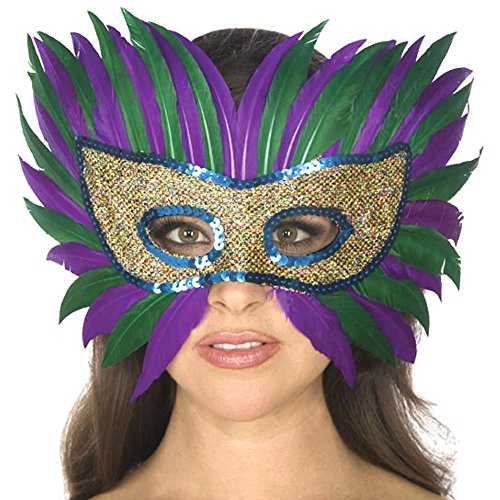 Women's Mardi Gras Feather Eye Adult Costume Mask