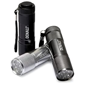 Denali Super Bright 9-LED Heavy-Duty Compact Aluminum Flashlight, 3-Pack