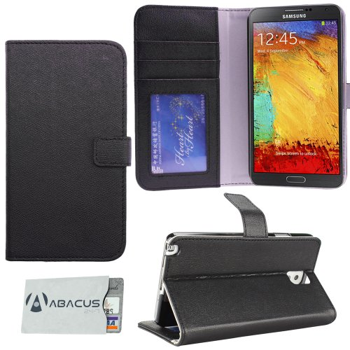51m5QEAyQrL Fall Fashion Vegan Leather Accessory for Samsung Galaxy Note 3, Note III, N9000, N9005 Folio Style Wallet Case with Abacus24 7 RFID Blocking Sleeve (Black)