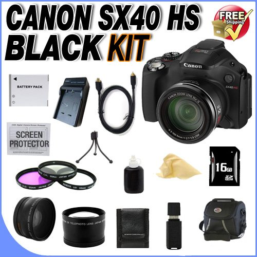 Canon Sx40 Hs 12.1Mp Digital Camera With 35X Wide Angle Optical Image Stabilized Zoom And 2.7-Inch Vari-Angle Wide Lcd W/16Gb Sdhc Memory + Extra Extended Life Nb10L Battery + Ac/Dc Rapid Charger + 3 Piece 67Mm Filter Kit + Lens Adapter + Super Wide Angle