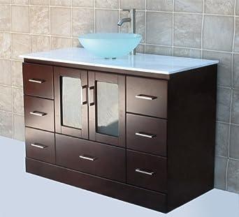 Bathroom Vanities For Vessel Sinks Solid Wood 48 Bathroom Vanity Cabinet Glass Vessel Sink Faucet Mg