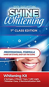 Shine Whitening - 1st Class Edition - Professional Teeth Whitening Kit ? (2) 5cc Syringes and Mouth Trays (top and bottom), 1 LED light, 1 Retainer Case, 2 Remin Gels