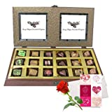 Valentine Chocholik's Belgium Chocolates - Bright Delight Chocolate Box With Love Card And Rose