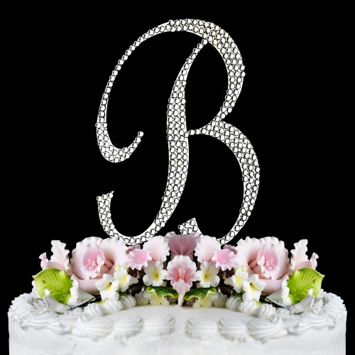 Raebella Weddings Completely Covered Swarovski Crystal Silver Wedding Cake Topper ~ Medium Monogram Letter B back-1032938