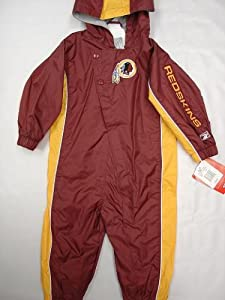 Washington Redskins Infants / Babys / Kids maroon and yellow hooded Wind Suit coverall by Reebok