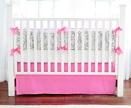 New Arrivals Crib Bed Set, Slate with Bright Pink Trim