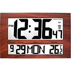 MARATHON CL030025WD Jumbo Atomic Wall Clock with 6 Time Zones, Indoor Temperature, Date & Stand in Wood Tone - Batteries Included