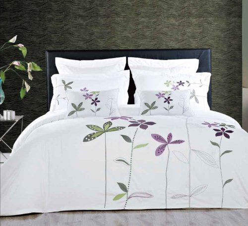 5Pc- Full/Queen South-Garden White Duvet Cover Set By Hotel Collection front-1015106