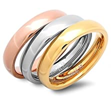 buy Stainless Steel Rose Yellow Gold And Silver Three Ring Tri-Color Band Set