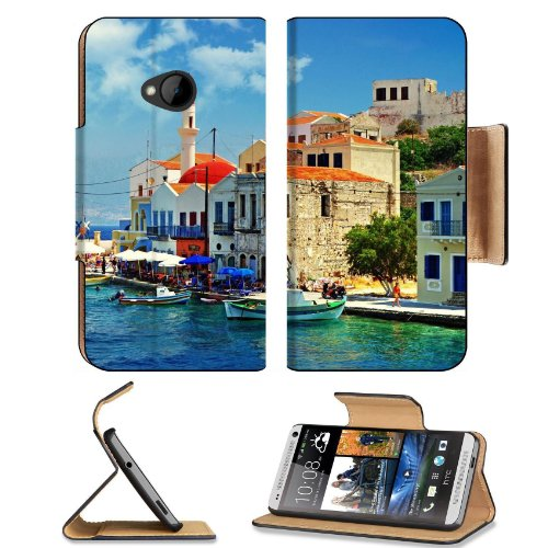 Corner Greece Port City Landscape Htc One M7 Flip Cover Case With Card Holder Customized Made To Order Support Ready Premium Deluxe Pu Leather 5 11/16 Inch (145Mm) X 2 15/16 Inch (75Mm) X 9/16 Inch (14Mm) Msd Htc One Professional Cases Accessories Open Ca front-947337