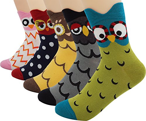 Women's Lady's Cute Owl Design Cotton Socks,5 Pairs