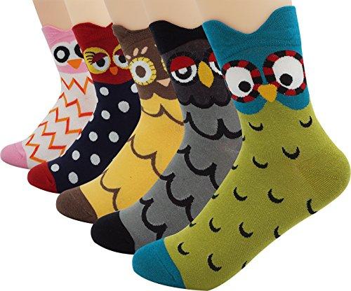 Womens-Ladys-Cute-Owl-Design-Cotton-Socks5-Pairs