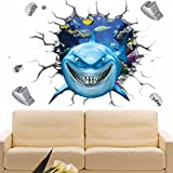 EMIRACLEZE Christmas Gift Holiday Shopping 3d Style Cartoon Shark Removable Mural Wall Stickers Wall Decal for Children Bedroom Classroom Home Decor