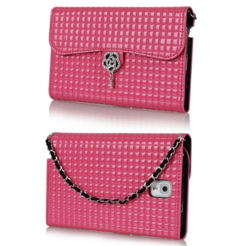 Ihand Handbag Clutch Wallet Case With Bling For Samsung Galaxy Note 3 Iii [Retail Package] - Hot Pink