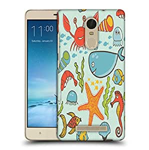 Snoogg Fish World Blue Pattern Printed Protective Phone Back Case Cover For Xiaomi Redmi Note 3