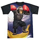 Black Back: Monkey Boxing Space Astronaut T-Shirt