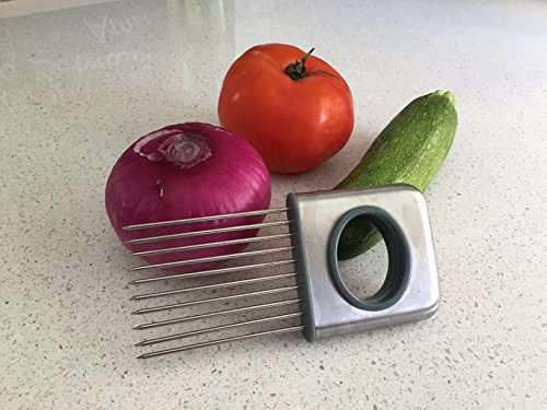 Stainless Steel Onion Holder For Slicing and Cutting Vegetables like Carrots, Potatoes, Tomatoes, and even Fruits with Ease (Kitchen Gadgets Tomato compare prices)