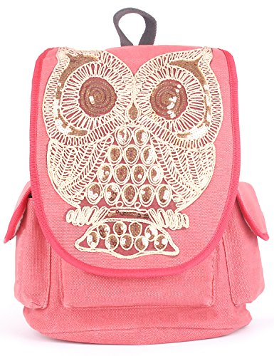 3922692f58 Angellswin Red Pure Colr Gold Owl Canvas Women Teen Girls College School  Backpack