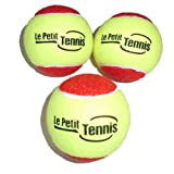 "Le Petit Tennis ""Slow Bouncer"" 36' Yellow/Red Tennis Balls Kids - Pack3 - (Stage 3 Ball - For Playing on 36ft Court)"