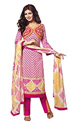 Adaa Women's Cotton Unstitched Dress Material (J-R-6433_Pink_Free Size)