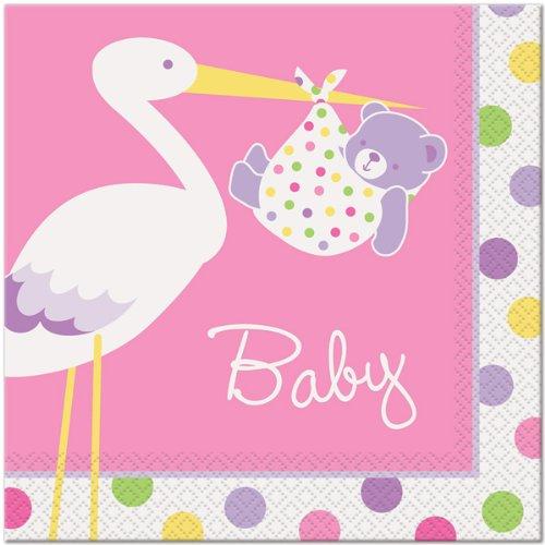 Pink Stork Girl Baby Shower Napkins front-20826