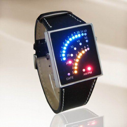 LED Watch Futuristic Japanese Style Multicolor LED Watch with black strap - tells time by Colourful Arcs of 29 individual LEDs