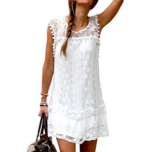 Etosell Sexy Women's Summer Casual Lace Evening Party Beach Dress Short Mini Dress (Asian M/UK 10-12)