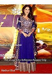 Designer Navy Blue ROWSILK &GEORGETTE Bollywood Replica Dress.