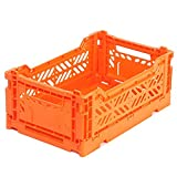 """Colorful Collapsible Basket Indestructible Containers Folding Storage Box Organizer Bins, 10.4""""x6.7""""x4.1"""" (Orange)"""