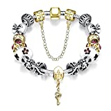 YELLOW CHIMES Crafted Beads and Crystals Golden Heart Lock and Key Charm Bracelet for Girls and Women
