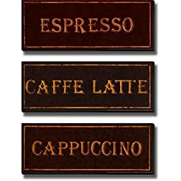 Espresso, Caffe Latte, & Cappuccino Coffees by Catherine Jones 3-pc Stretched Canvas Set (Ready to Hang)
