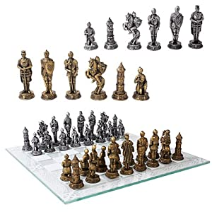 Medieval Warfare Age Of Knights & Kings Resin Chess Pieces With Glass Board Set