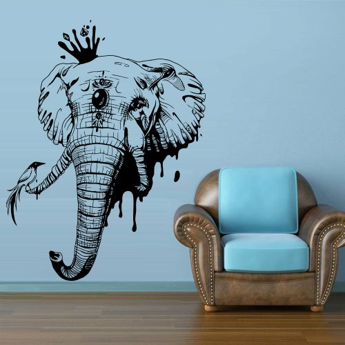 Wall Decal Art Decor Decals Sticker Elephant Wild Animal Trunk Head Tusks Indian Bedroom Office Mural Home Interior Design Art Gift (M1303) front-439697