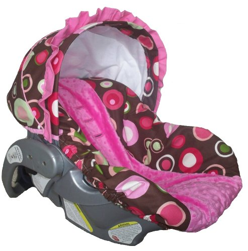 Custom Infant Car Seat Cover Sew Precious Baby Brown Pink Circle Hot